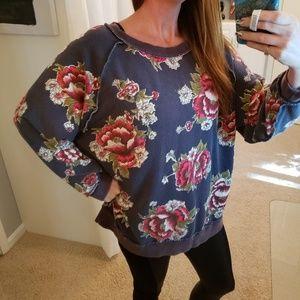 Free People Women's Oversized Floral Sweatshirt